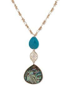 """Gold-Tone Blue-Green & Abalone Long Necklace, 32"""" + 3"""" extender"""