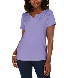 Crochet-Trim Split-Neck Top, Created for Macy's