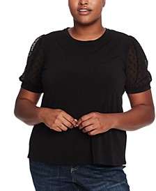 Plus Size Puff-Sleeve Mixed-Media Top