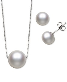 2-Pc. Set White Dyed Cultured Freshwater Pearl (8-10mm) Pendant Necklace & Matching Stud Earrings (Also in Black & Pink Cultured Freshwater Pearl)
