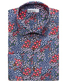 Men's Organic Cotton Floral-Print Slim Fit Dress Shirt, Created for Macy's