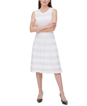 Calvin Klein RIB-KNIT STRIPED DRESS