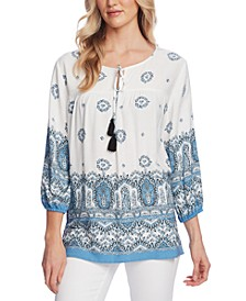 Printed Tassel-Tie 3/4-Sleeve Peasant Top
