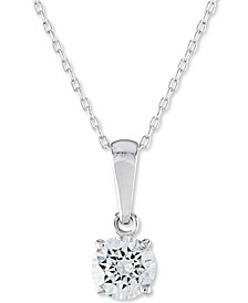 "Certified Diamond Solitaire 18"" Pendant Necklace (1 ct. t.w.) in 14k White Gold"