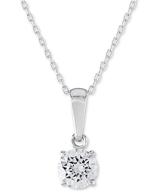 "Macy's Certified Diamond Solitaire 18"" Pendant Necklace (1 ct. t.w.) in 14k White Gold"