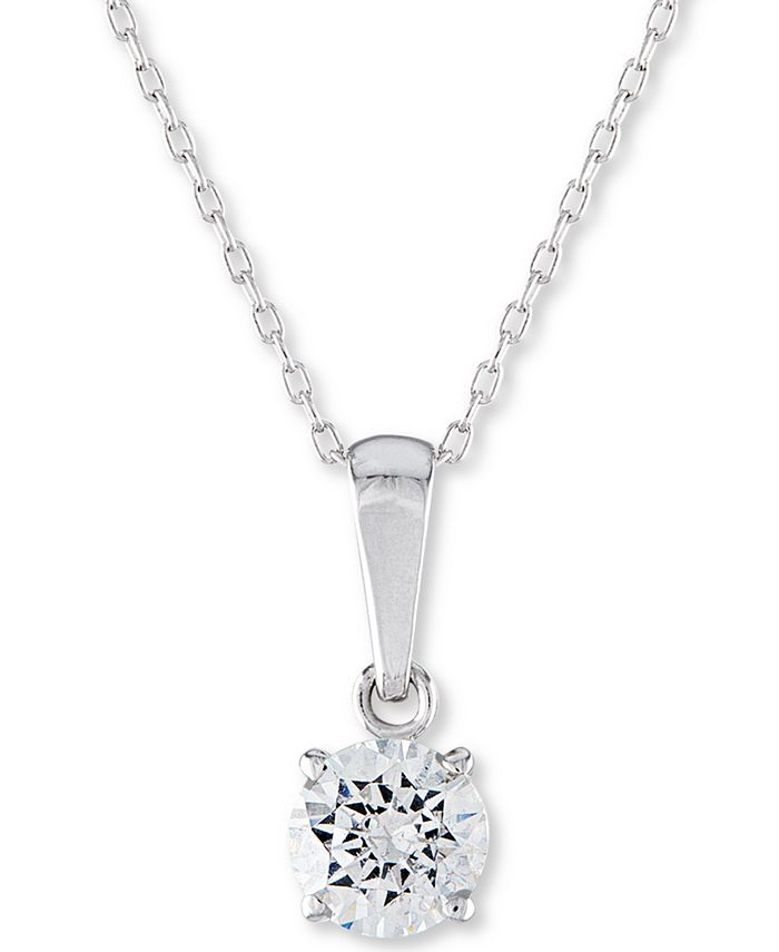 """Macy's - Certified Diamond Solitaire 18"""" Pendant Necklace (1/4 ct. t.w.) in 14k White Gold"""