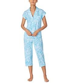 Printed Cotton Capri Pajama Set
