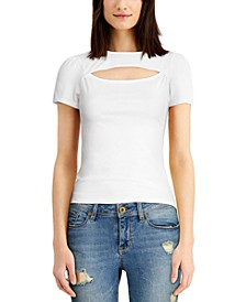 Juniors' Puff-Sleeve Cutout Top