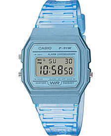 Unisex Digital Blue Jelly Strap Watch 35.2mm