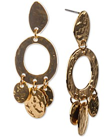 Stainless Steel Shaky Disc Hammered Drop Earrings, Created for Macy's