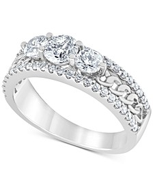 Diamond Trio Chain Link Engagement Ring (1-1/4 ct. t.w.) in 14k White Gold