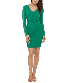 Studded Ruched Sheath Dress