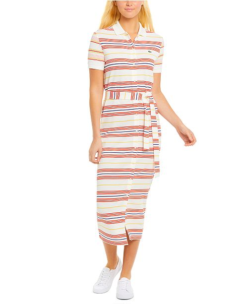 Lacoste Striped Cotton Polo Shirt Dress