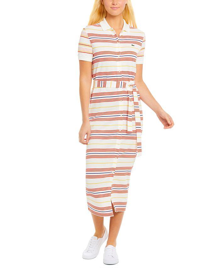 Lacoste - Striped Cotton Polo Shirt Dress