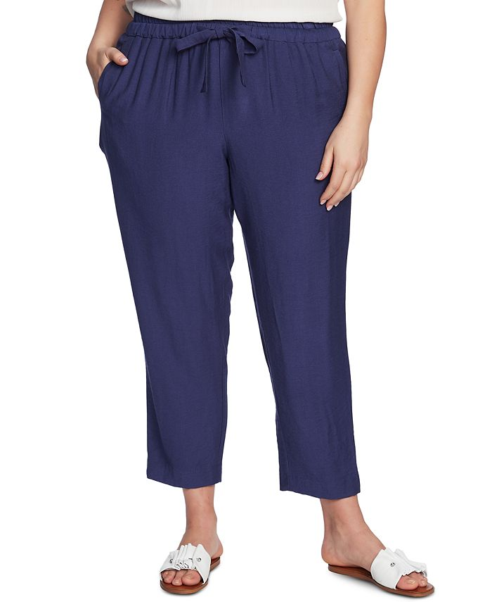1.STATE - Trendy Plus Size Flat-Front Drawstring Cropped Pants