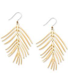 Gold-Tone Palm Leaf Drop Earrings