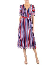 Printed Striped Midi Dress