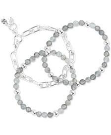 Silver-Tone 3-Pc. Set Link & Jade Beaded Bracelets
