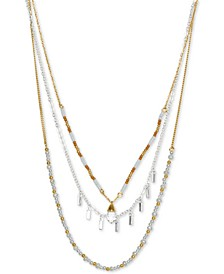 "Two-Tone Layered Bead & Stone Three-Row Necklace, 20-1/2"" + 2"" extender"