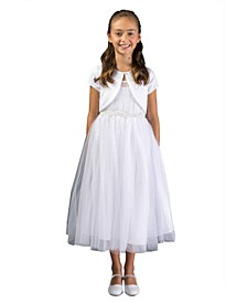 Big Girl Pleated Tulle and Imitation Pearl Communion Dress
