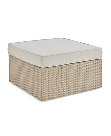 Canaan All-Weather Wicker Outdoor Square Ottoman with Cushion