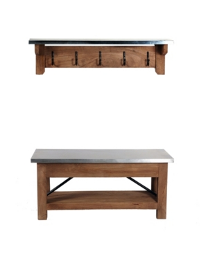 Alaterre Furniture Millwork Wood And Zinc Metal Bench With Coat Hook Shelf In Brown