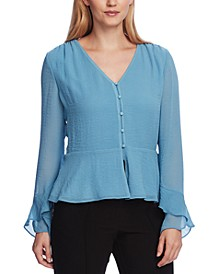 Women's Flutter Cuff Button Front Blouse