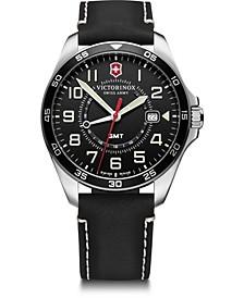 Men's Fieldforce GMT Black Leather Strap Watch 42mm