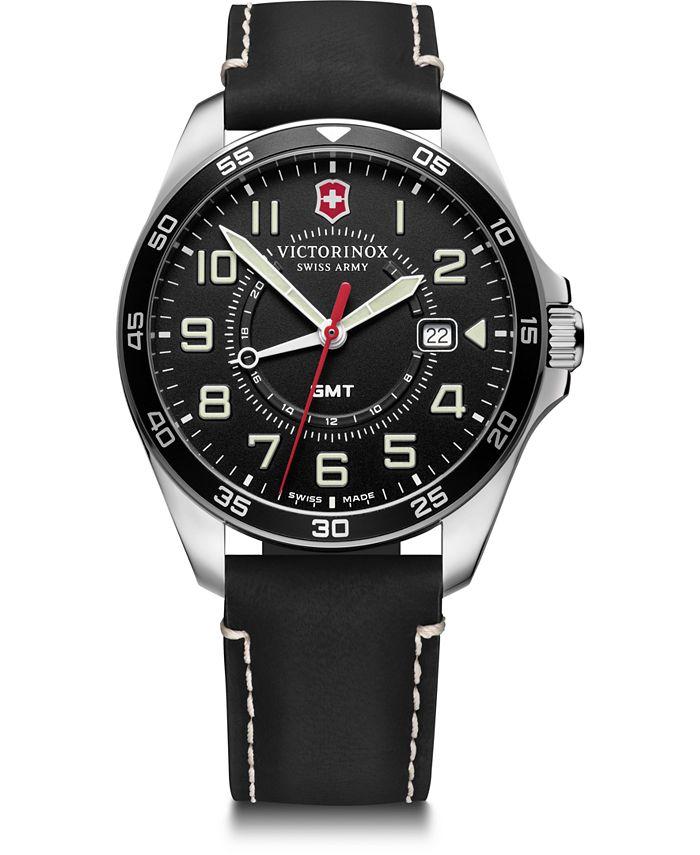 Victorinox Swiss Army - Men's Fieldforce GMT Black Leather Strap Watch 42mm