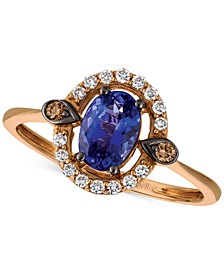 Blueberry Tanzanite (5/8 ct. t.w.) & Diamond (1/6 ct. t.w.) Ring in 14k Rose Gold