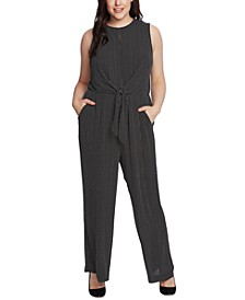 Plus Size Tie-Waist Sleeveless Jumpsuit