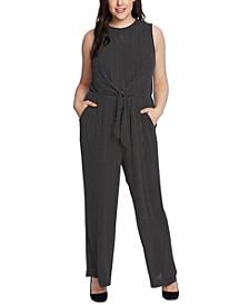 Plus Size Tie-Waist Sleeveless Jumpsuit