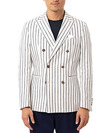 Orange Men's Slim-Fit Navy Blue/White Vertical Stripe Double-Breasted Sport Coat
