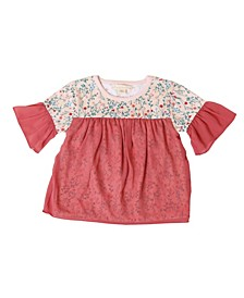 Toddler Girls Ruffle Short Sleeve Floral Top