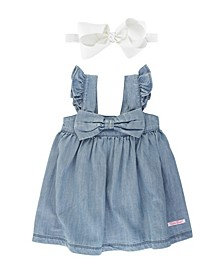 Toddler Girls Light Wash Denim Flutter Bow Dress and Bow Headband Set