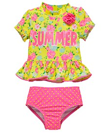 Toddler Girls 2 Piece Rash Guard Set