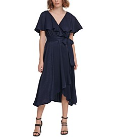 Flutter-Cape Dress With Textured Fabric