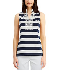 Petite Striped Split-Neckline Top, Created for Macy's