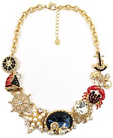 """Gold-Tone Crystal, Stone & Imitation Pearl Sea-Motif Statement Necklace, 16"""" + 3"""" extender, Created for Macy's"""