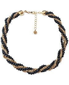 """Gold-Tone Chain & Colored Imitation Pearl Bead Twist Multi-Row Collar Necklace, 17"""" + 2"""" extender, Created for Macy's"""