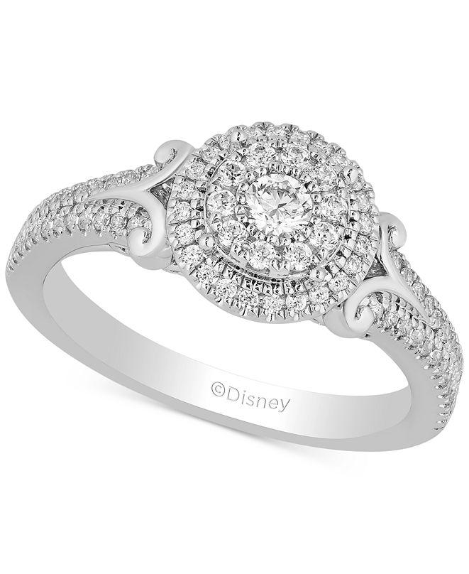 Enchanted Disney Fine Jewelry Enchanted Disney Diamond Cinderella Engagement Ring (1/2 ct. t.w.) in 14k White Gold