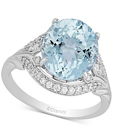 Enchanted Disney Aquamarine (3-7/8 ct. t.w.) & Diamond (1/5 ct. t.w.) Elsa Ring in 14k White Gold