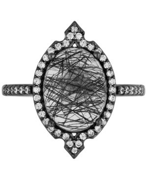 Enchanted Disney Villains Rutile Quartz (3-3/4 ct. t.w.) & Diamond (1/4 ct. t.w.) Maleficent Statement Ring in Black Rhodium-Plated Sterling Silver