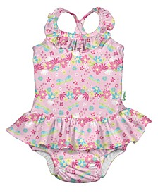 Toddler Girl One-Piece Ruffle Swimsuit with Built-In Reusable Absorbent Swim Diaper