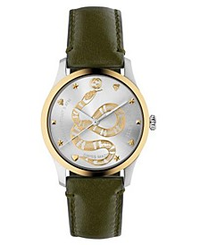 Men's Swiss G-Timeless Green Calfskin Leather Strap Watch 38mm