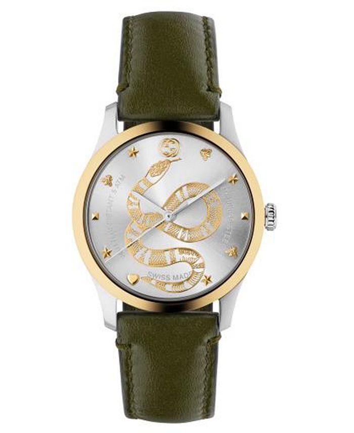 Gucci - Men's Swiss G-Timeless Green Calfskin Leather Strap Watch 38mm