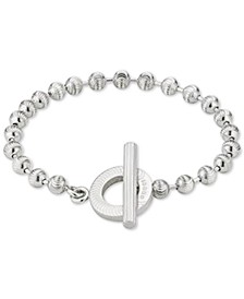 Beaded Toggle Bracelet in Sterling Silver