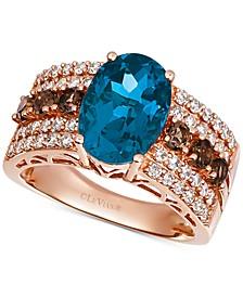 Multi-Gemstone (4-1/4 ct. t.w.) & Diamond (5/8 ct. t.w.) Ring in 14k Rose Gold