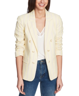 1.state STRIPED RUCHED-SLEEVE BLAZER