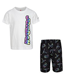 Toddler Boys 2-Pc. Neon Graphic T-Shirt and Printed Mesh Shorts Set